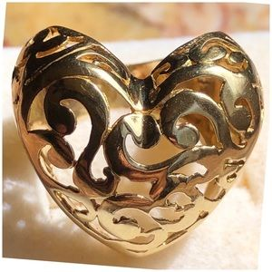 14KT Yellow Gold Filigree Cage Style Heart Ring